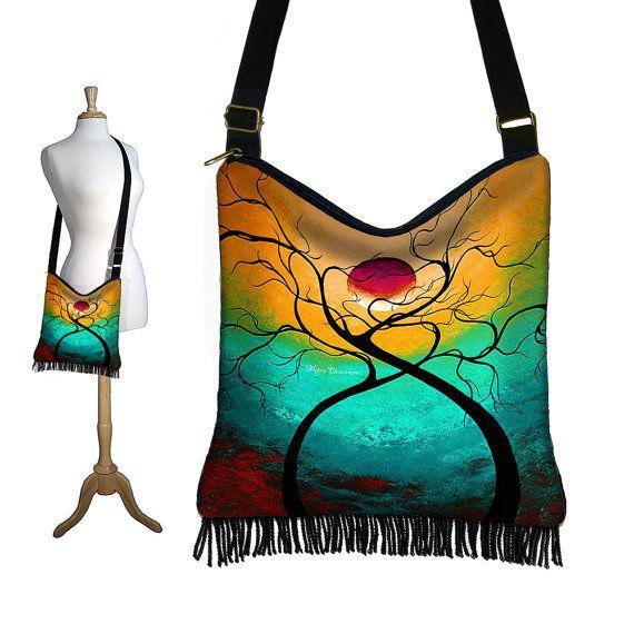 MadArt Hippie Bag Hobo Purse Crossbody Slouch Bag Gyspy Boho Fringe Bag, Twisting Love tree moon zipper aqua violet yellow red MTO