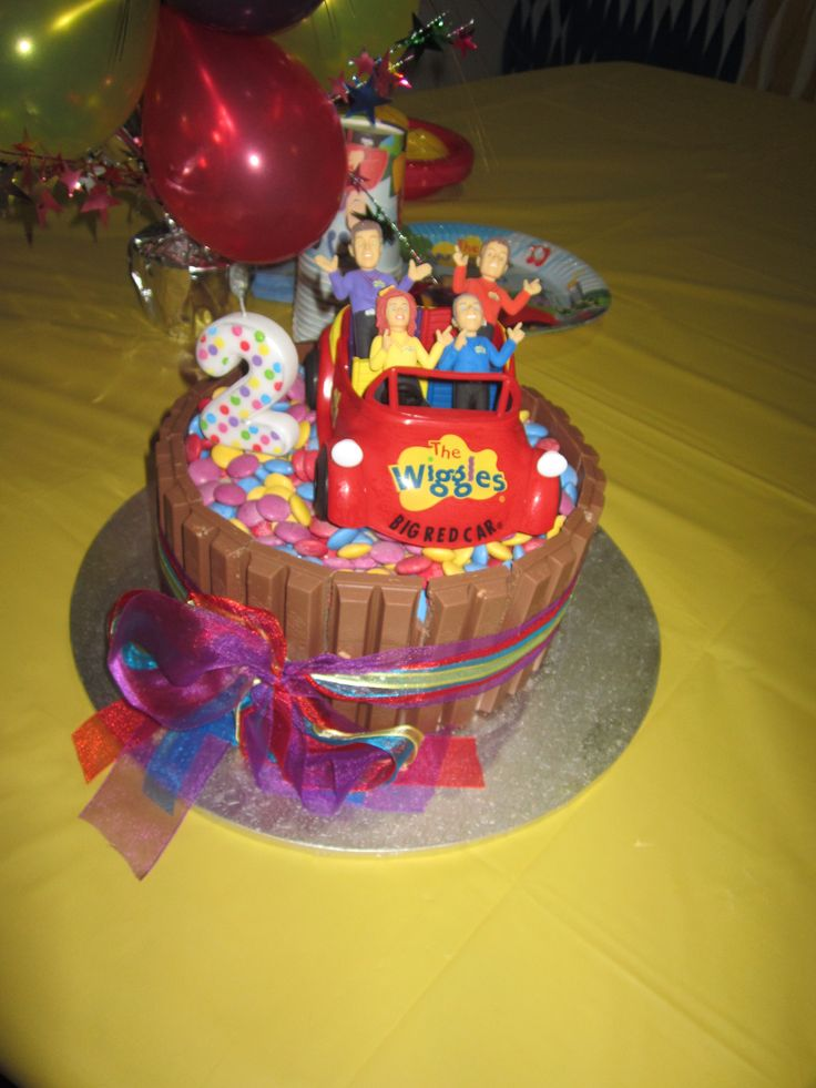 Allegra's 2nd Birthday Party - The Wiggles - Rainbow layer cake with WIggles coloured smarties & ribbon