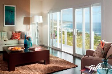 Pella Sliding Doors >> Pella® 350 Series sliding patio door contemporary living room-4 panel door, available with ...