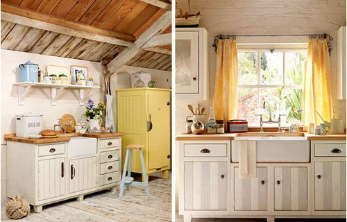 Cozinha r?stica e coloridinha - cores amarelo e azul suaves, com base ...