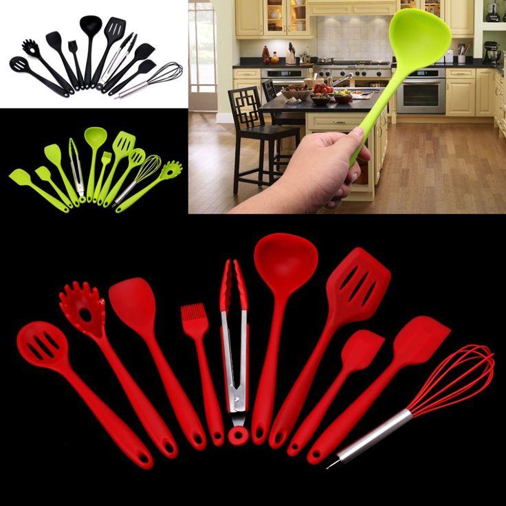 Silicone Kitchen Utensils, 10 Piece Heat Resitant Non-stick Silicone Kitchen Utensils Set Cooking Bake Tool #Affiliate