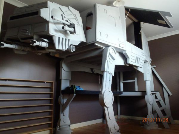 This highly detailed AT-AT Walker Bunk Bed, built by redditor Hannaconda7's uncle for his 10-year-old son