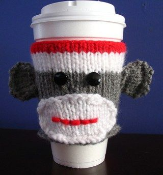 Free knitting pattern for Sock Monkey Cup Cozy and more sock monkey knitting patterns