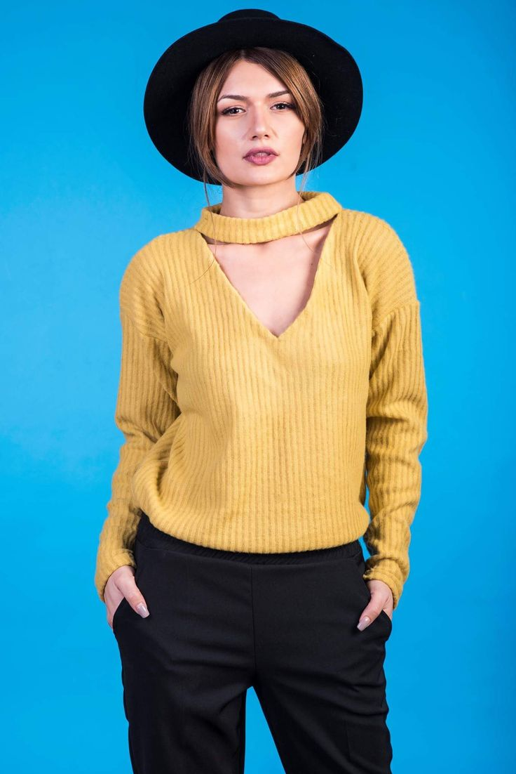 Yellow choker blouse, soft fabric, New 2017 collection