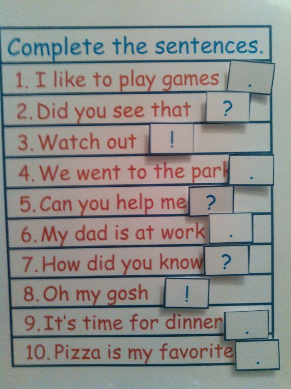 Sentence Punctuation VELCRO Activity Match: Period, Question Mark or Exclamation Mark, 1st Grade Learning, 2nd Grade, Kids Educational Toy