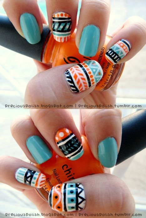 SummerTime.: Nails Art, Indian Summer, Nails Design, Summer Nails, Tribal Nails, Nails Polish, Tribal Prints, Prints Nails, Aztec Nails