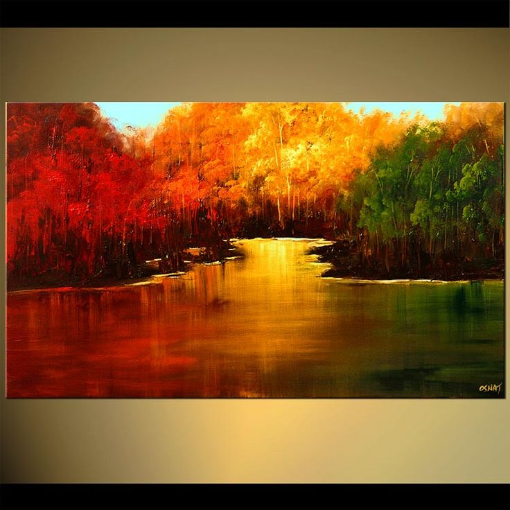 Original abstract art paintings by Osnat - red yellow and green forests near a lake