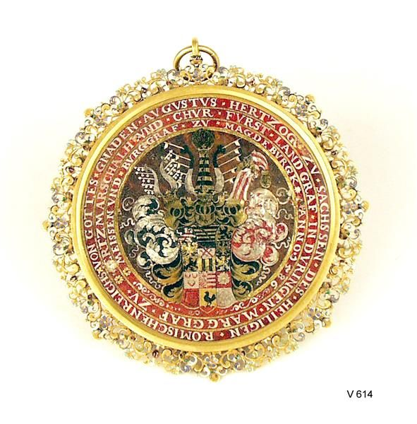 The enamelled coat of arms of the Elector August of Saxony, c.1586, on the back of a portrait. (Staatliche Kunstsammlungen Dresden)