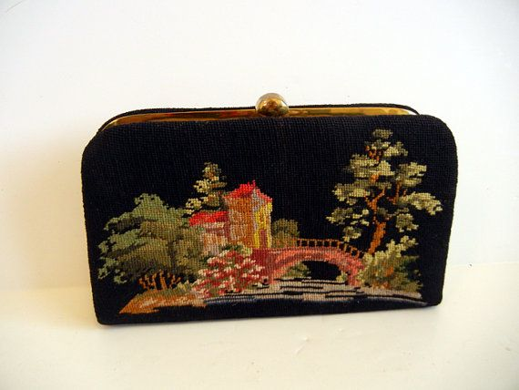 Let Out the Clutch Vintage 50's Needlepoint Scenic Bag