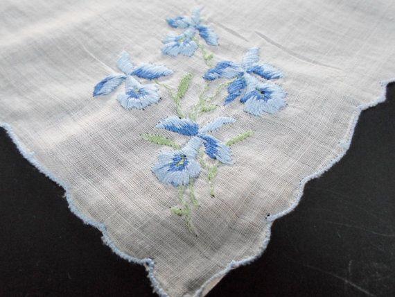 Something Blue Wedding Handkerchief Vintage by AllVintageHankies