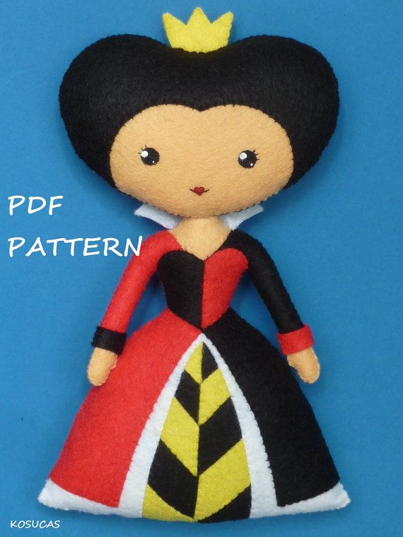 PDF sewing pattern to make felt Alice and Heart Queen by Kosucas