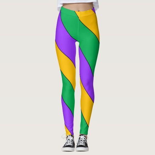 #MardiGras #Party Stripes Pattern Purple Green Yellow #Funny #Leggings