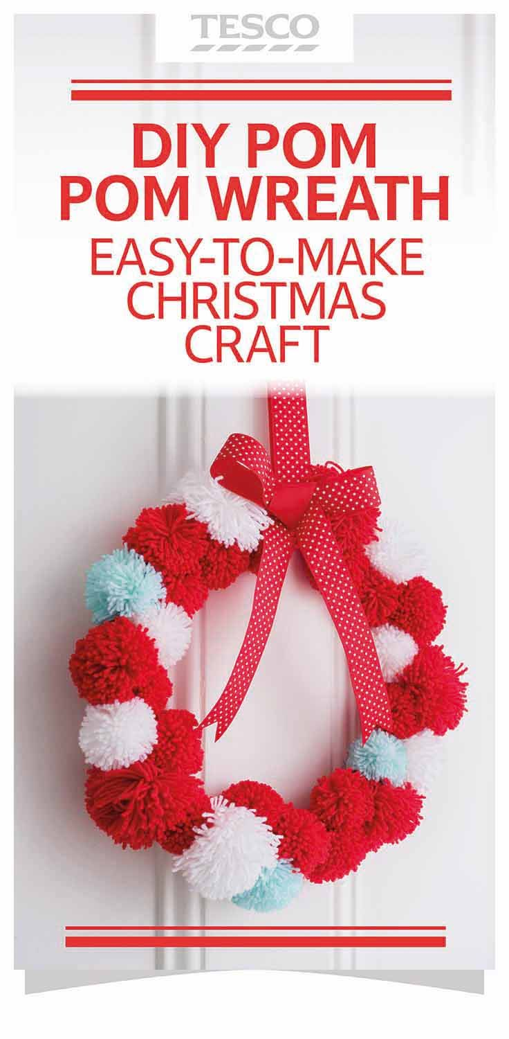 DIY Christmas craft tutorial: Cute pom pom Christmas wreath held up with ribbon.