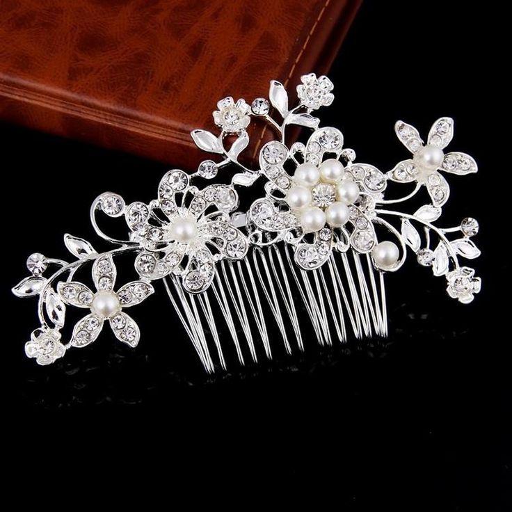 Women Floral Bridal Hair Combs Pearls