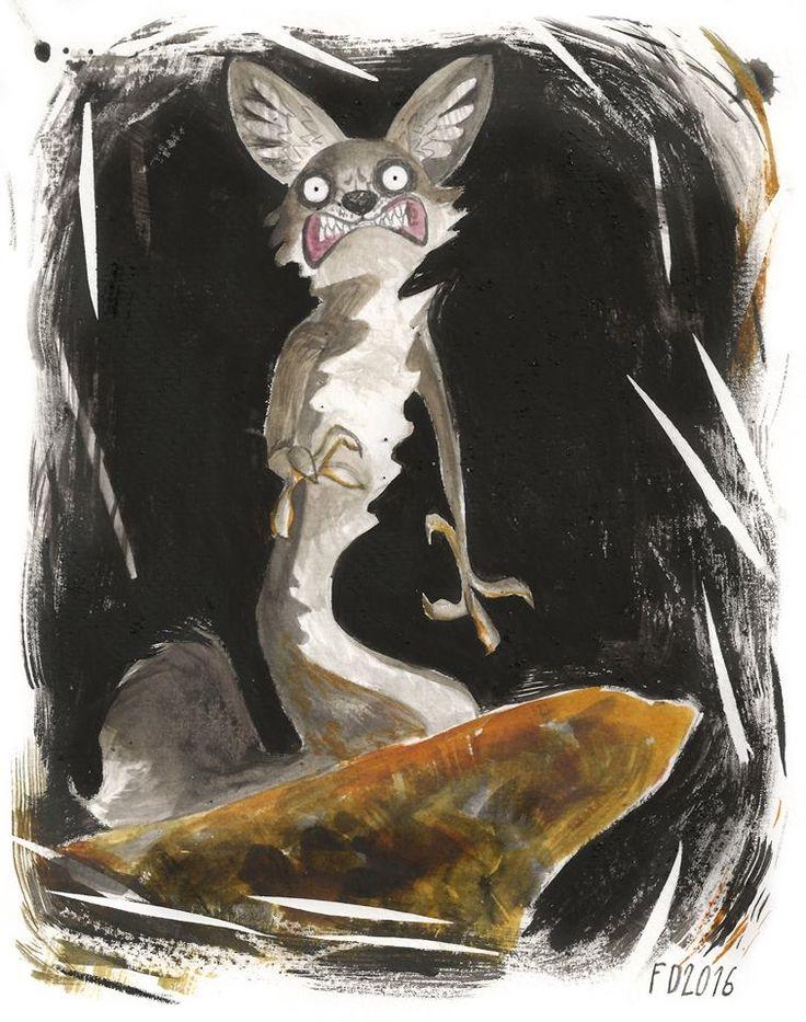 Grey fox on red rock / animal illustration art character / :)