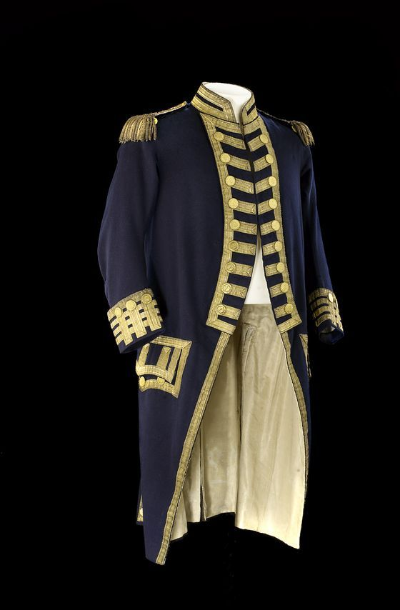 This uniform, which belonged to Admiral Sir William Cornwallis (1744-1819) illustrates the principal changes to uniform regulations for the year 1795.These include the change in colour of the lapels and cuffs from white to blue and the inclusion of epaulettes.