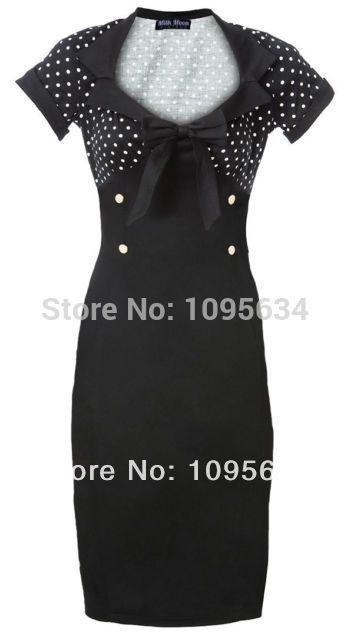free shipping cheapeast  stunning new stylish chic vintage 50's style polka dot black pencil wiggle dress S-6XL