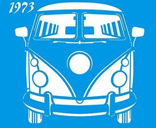 21cm x 17cm Pochoir Réutilisable en Plastique Transparent Souple Trace Gabarit Traçage Illustration Conception Murs Toile Tissu Meubles Décoration Aérographe Airbrush - Voiture Auto Volkswagen Fourgonnette