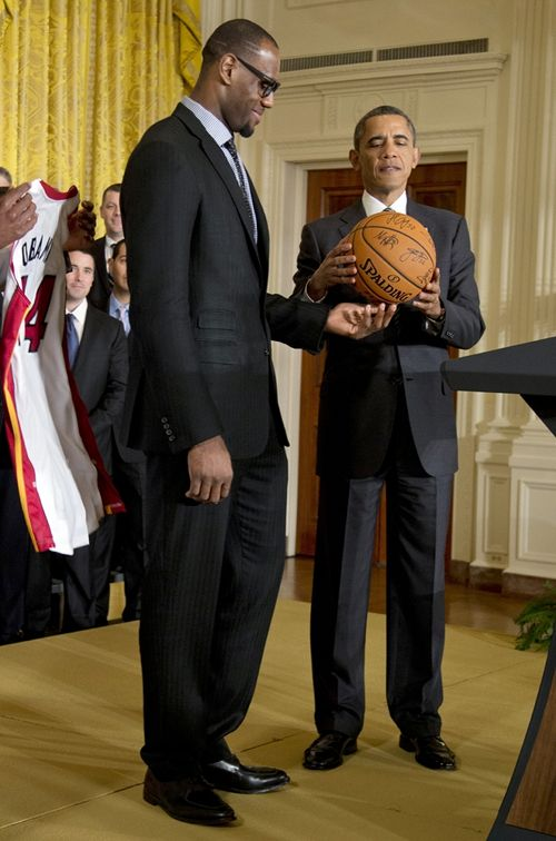 President Barack Obama and Miami Heat basketball player Lebron James