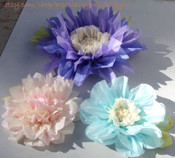 Set of 3 Giant Paper Flowers Lilac Perfect by especiallyforyoubyyw