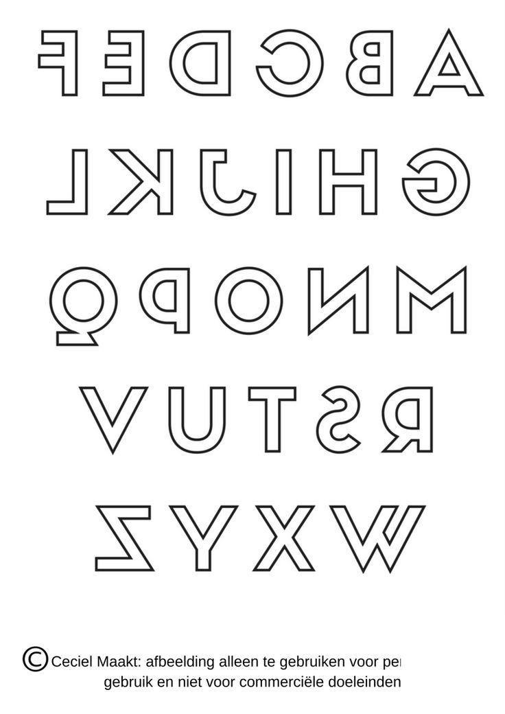 Gratis sjabloon van het alfabet in spiegelbeeld voor bv letters bij een #geboorteaankondiging #verjaardag #feest #quote #seizoen voor het maken van een #krijtstifttekening gemaakt door #cecielmaakt Zie ook op mijn andere bord voor nog meer #freebies voor een #raamtekening #raamdecoratie #windowdrawing #freebie #gratis