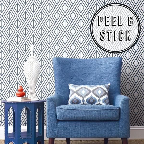 Transform Transform Blue Diamond Geo Peel And Stick Removable Wallpaper 108312 The Home Depot Wallpaper Roll Peel And Stick Wallpaper Textured Wallpaper