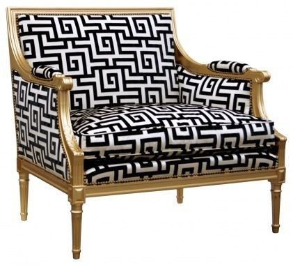 Gold Black and White Patterned Chair