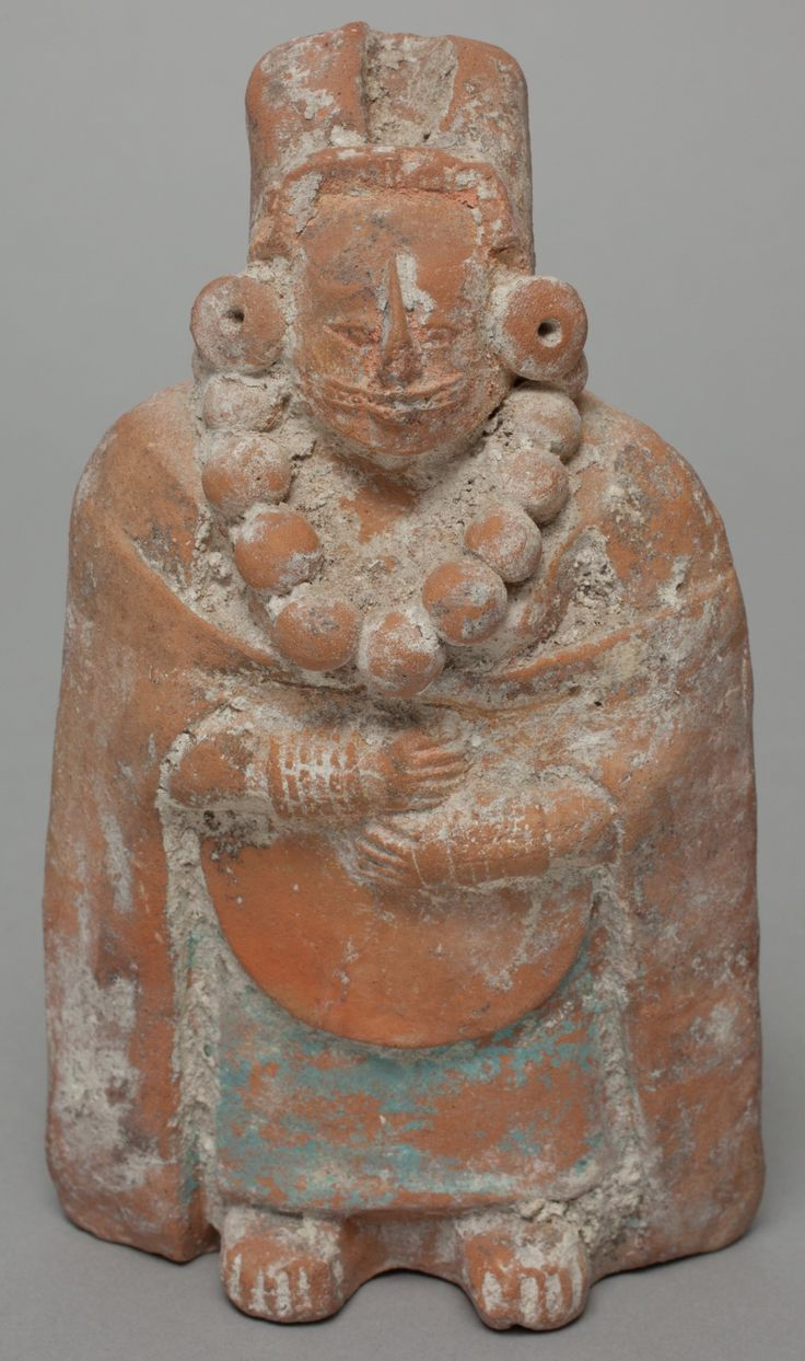 Maya, Standing Female Figure, between 300 and 900, clay and pigment. Detroit Institute of Arts.