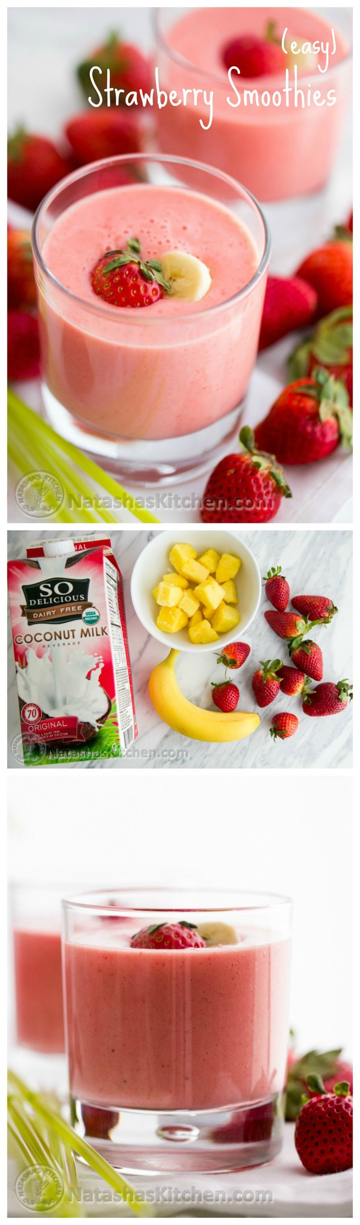 Try this Strawberry Smoothie recipe for some serious feel good energy! @NatashasKitchen