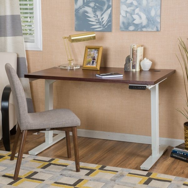 Andrews 58-inch Acacia Wood Desk with Adjustable Height and Dual Powered Bas by Christopher Knight Home