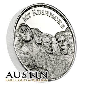 The Rushmore 2 oz Silver Ultra High Relief round is a great addition to any investment or numismatic collection of silver bullion.  Each silver round is manufactured by the Elemetal Mint in extremely high relief and consists of two troy ounces of .999 fine silver.