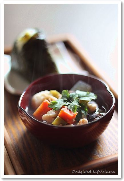 Aizu Kozuyu, Scallop Soup with Diced Vegetables 会津こづゆ