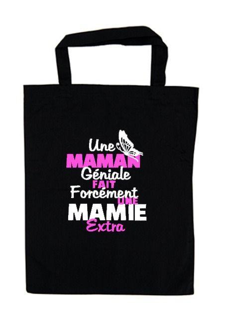 Tote bag spécial fête des mères motif thermocollant tissu noir en coton Mamn devient mamie