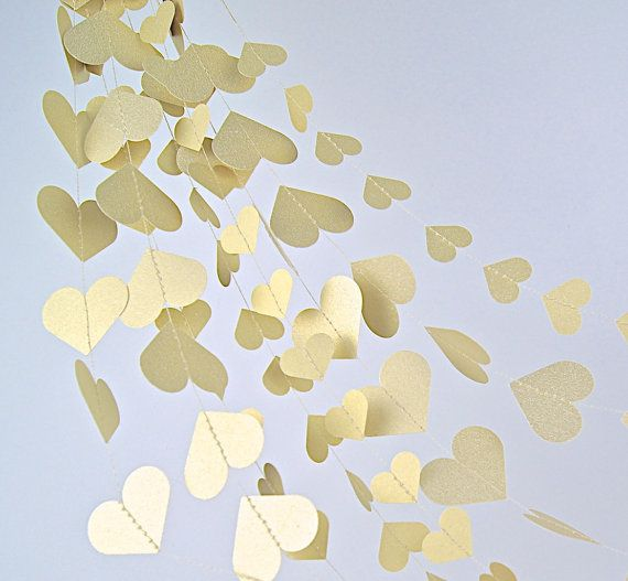 Gold Hearts Paper Garland  20 Colors Bridal by TheLittleThingsEV