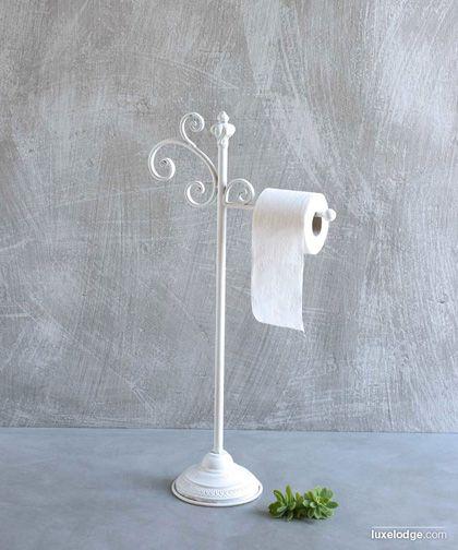Porta carta da bagno in ferro smaltato bianco