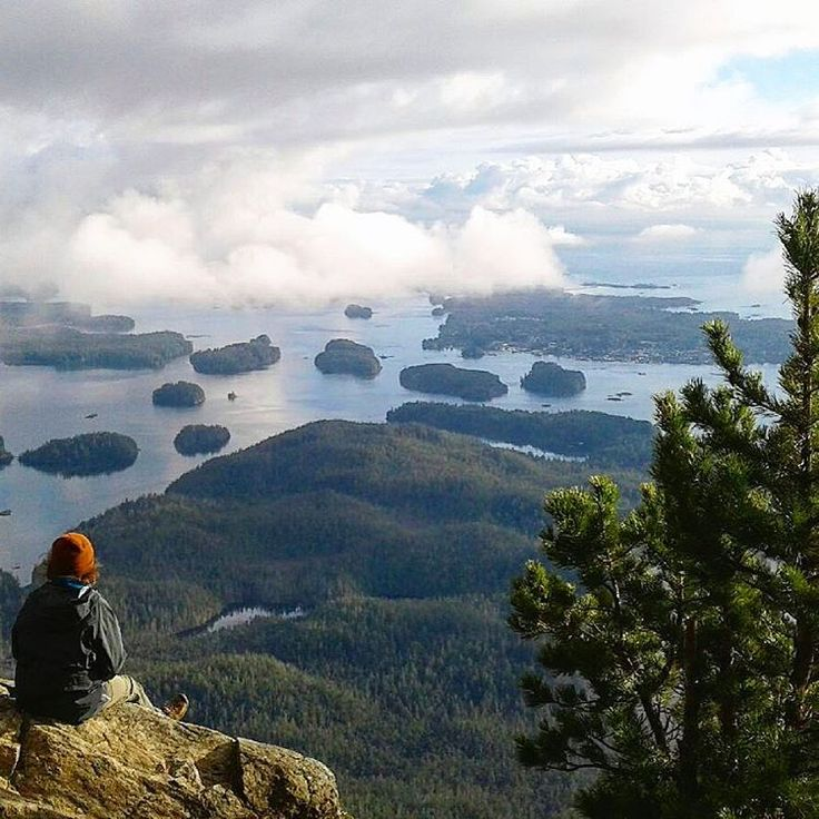 The view from the top of Lone Cone Mountain on Meares Island with a view of Tofino.