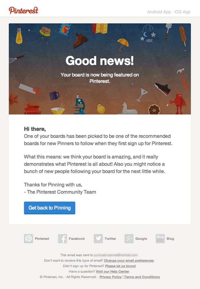 Notice Email Design from Pinterest  Email Subject: Congratulations! Your board is getting the star treatment on Pinterest