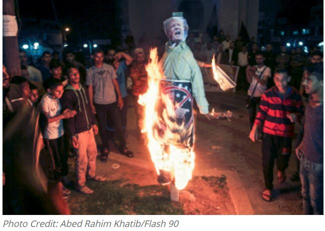 As U.S. President Donald Trump visited Israel, Palestinians throughout Gaza held protests against the American leader's visit. The protesters burned effigies of Trump and stomped on American and Israeli flags.