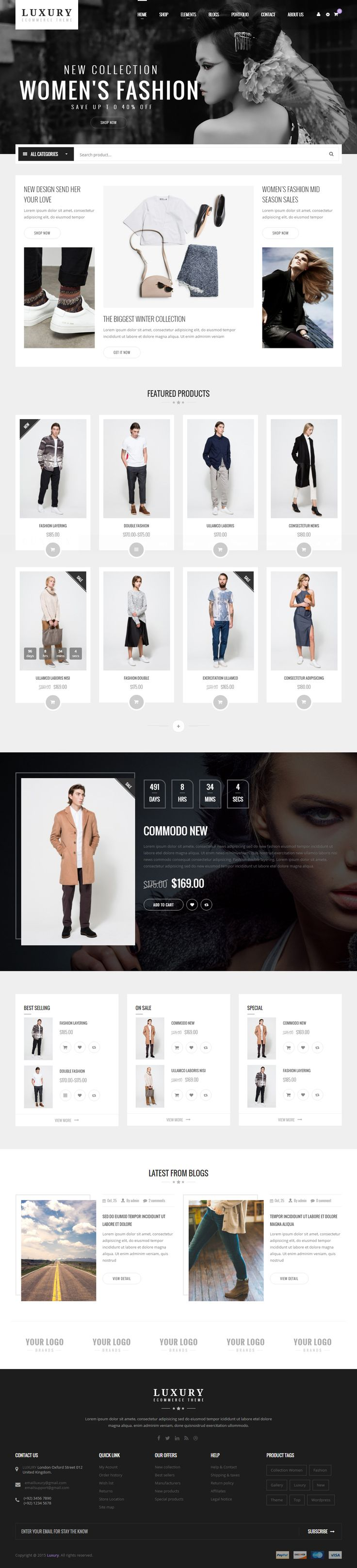 Luxury is Premium full Responsive Retina #WordPress #eCommerce Theme. WooCommerce. Visual Composer. #Bootstrap 3. Ajax Cart. Test free demo at: http://www.responsivemiracle.com/luxury-premium-responsive-woocommerce-wordpress-theme/