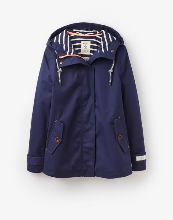 Coast French Navy Waterproof Hooded Jacket | Joules US