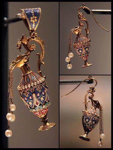 Mosaic Pendant and Earrings, Roma, about 1870 #TuscanyAgriturismoGiratola
