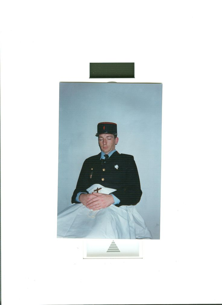 A young fireman conscript at funeral home