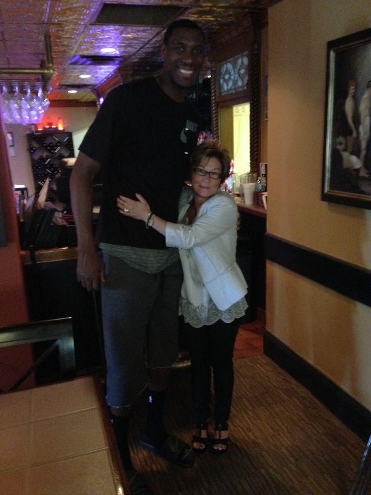 Ian Mahinmi of the Indiana Pacers may be French - but he loves our Italian Food at The Milano Inn of Indianapolis.  This is Ian along with Milano Inn owner, Tina LaGrotte!