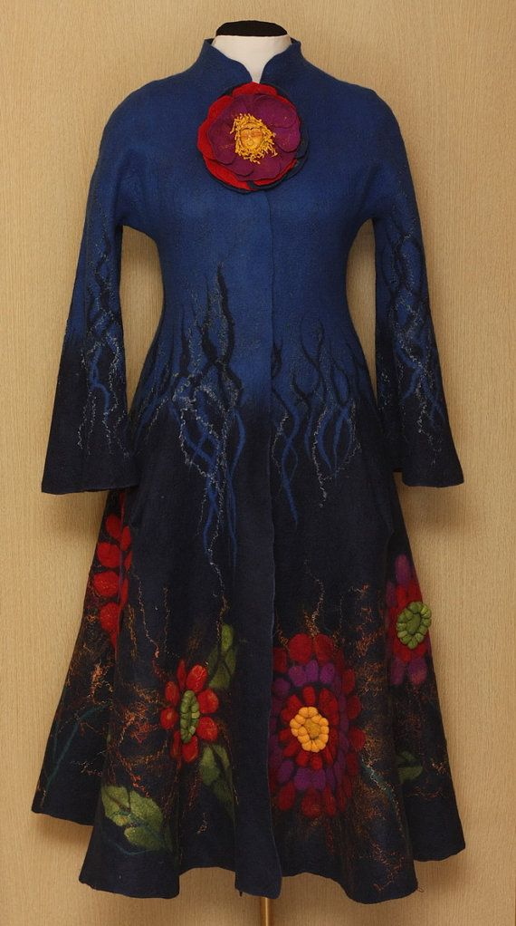 Stunning dress coat by Lubov Voronina. It is made by wet felting method and must have taken countless hours of work. Beautiful - you just have to love handmade! Inimitable Frida (Frida Kahlo Viva la Vida Collection) by LybaV, $1000.00, via Etsy.