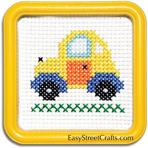 "TAXI--55TX This counted-cross stitch kit includes 6-count Aida cloth and a 5""x5"" Yellow Square Hoop-Frame - - - - EasyStreetCrafts.com"