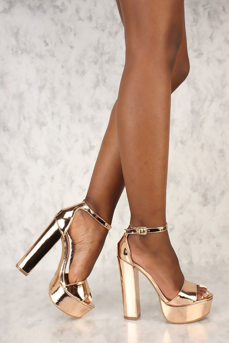 Sexy Rose Gold Open Toe Platform Pump Chunky High Heels Metallic Faux Leather #chunkyplatformpumps #promheelsgold