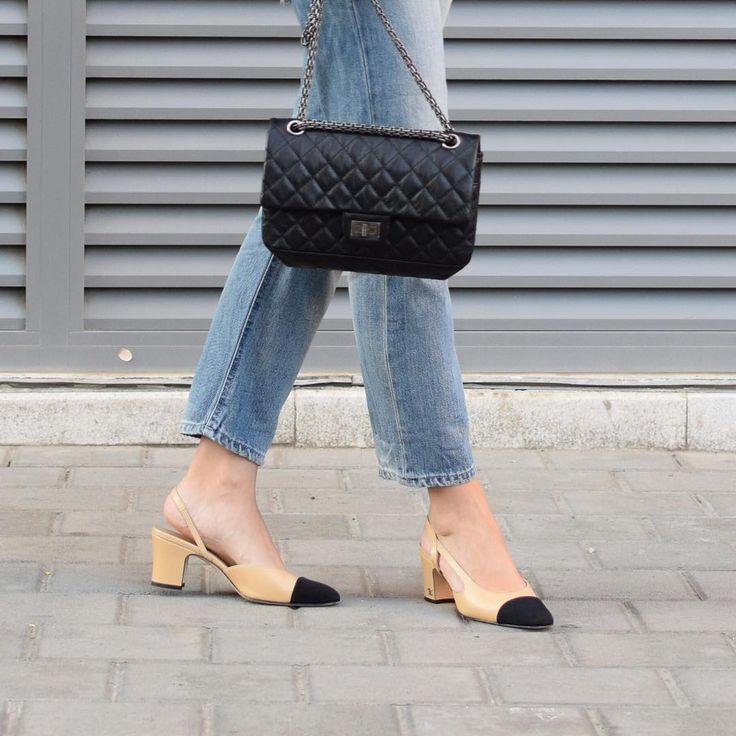Chanel 255 reissue small flap bag . Chanel slingbacks shoe