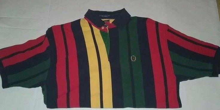 VTG Tommy Hilfiger Multi-color Striped Polo Shirt LARGE Lion Crest  #TommyHilfiger #PoloRugby