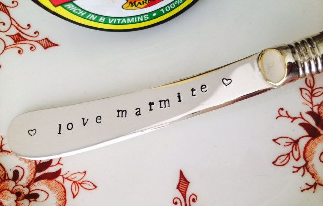 Silverplated Vintage Marmite Butter Knife Handstamped Marmite with Heart Motif by VintageCandy2u on Etsy