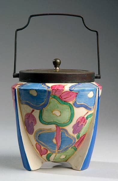 """""""Blue Chintz"""" ceramic biscuit barrel by Clarice Cliff, England"""
